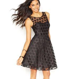 NWT Betsy Johnson Illusion Polka Black Dot Dress 6